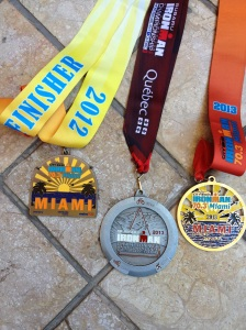Some of my finisher medals, missing IM Puerto Rico...next is IM Lake Placid!